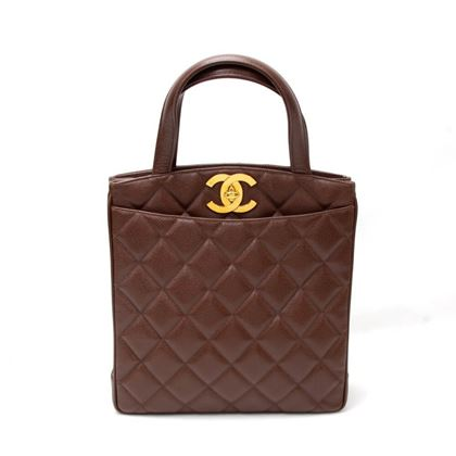 "Chanel 11"" Brown Quilted Caviar Leather Tote Hand Bag"