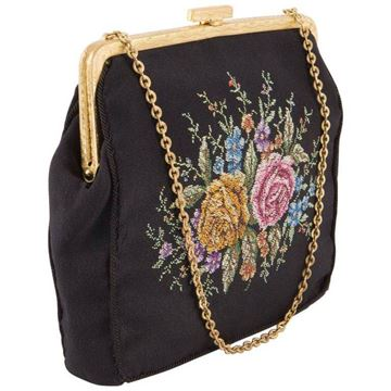 1930s Black Silk Embroidered Evening Clutch Bag