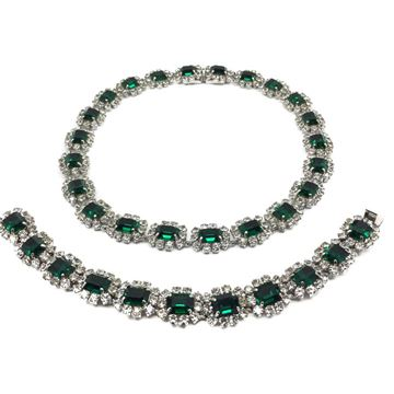 dior-1960s-vintage-faux-emerald-diamond-necklace-bracelet