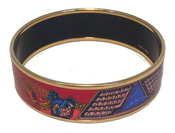 hermes-vintage-red-and-blue-horse-print-enamel-bangle-bracelet