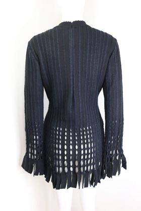 alaia-black-and-navy-stripe-wool-open-knit-fringe-hem-bodycon-dress