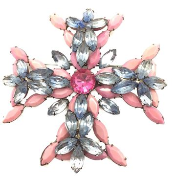 Kenneth Lane Statement Pink Maltese Cross Brooch
