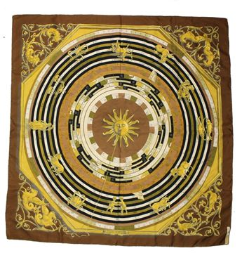 Hermes  XL Large Square Brown Orange Sun Zodiac Design Scarf
