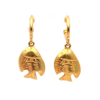 Ben-Amun 1980's Fish Gold Tone Pierced Vintage Earrings