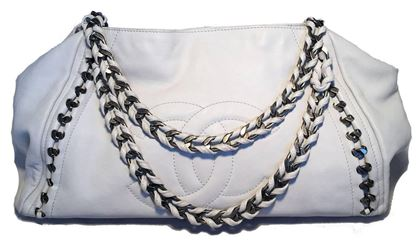 chanel-white-leather-chain-trim-shoulder-bag-tote