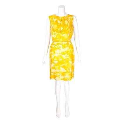 vintage-1960s-yellow-camouflage-patterened-shift-dress