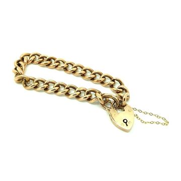 antique-victorian-1900-9ct-rose-gold-albert-curb-chain-heart-bracelet