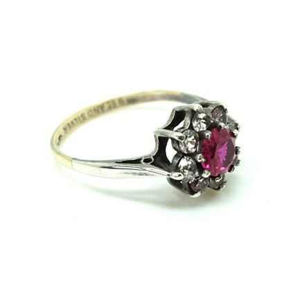 Vintage 1940s Red Paste Silver & 9ct Gold Ring ¦ P / 8