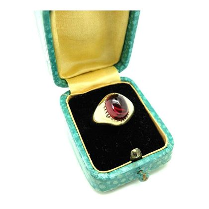 Vintage 1975 Simulated Ruby 9ct Gold Signet Ring ¦ K / 5.5