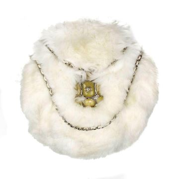Chanel Fur  White Gripoix Stone Cc Logo Leather Chain Shoulder Bag