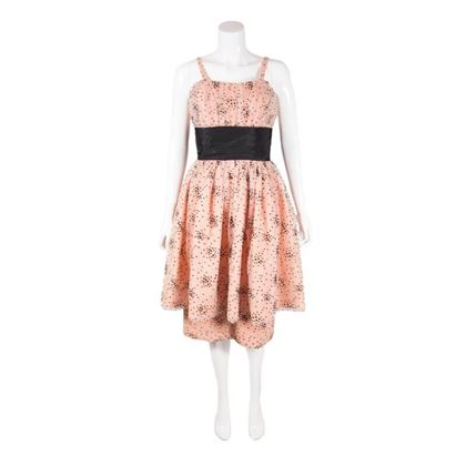 vintage-1950s-peach-black-tulle-cocktail-dress