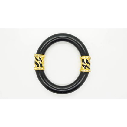 Elizabeth Taylor Zebra Stripe Collection Black & Gold Bangle