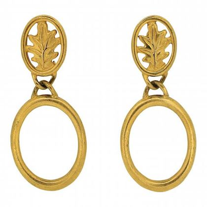 Givenchy 1980s Gold Tone Leaf Design Vintage Hoop Earrings