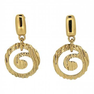 Givenchy 1980s Gold Tone Swirl Design Vintage Drop Earrings