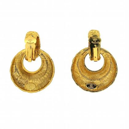 Kenneth Jay Lane 1970s Gold Tone Vintage Door Knocker Earrings