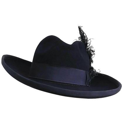 Navy Blue Women's Fedora w/ Curled Feather