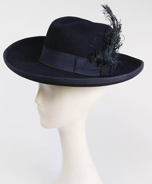 Navy Blue Women's Fedora With Curled Feather