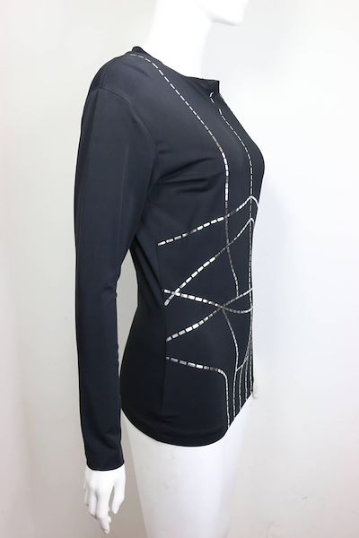 martine-sitbon-tricot-black-with-silver-metallic-linings-pattern-pullover-top