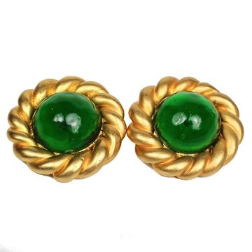 Chanel  Vintage Gripoix Green Xl Gold Logo Clip On Earrings