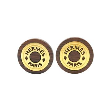 hermes-wood-and-gold-plated-round-clip-on-earrings-1990s