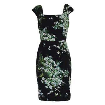 Dolce & Gabbana Black and Flower Pattern dress
