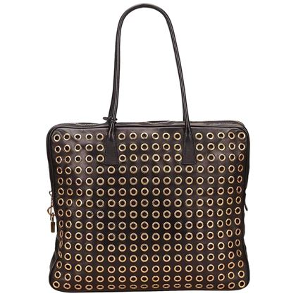 prada-black-leather-gold-toned-eyelet-handbag