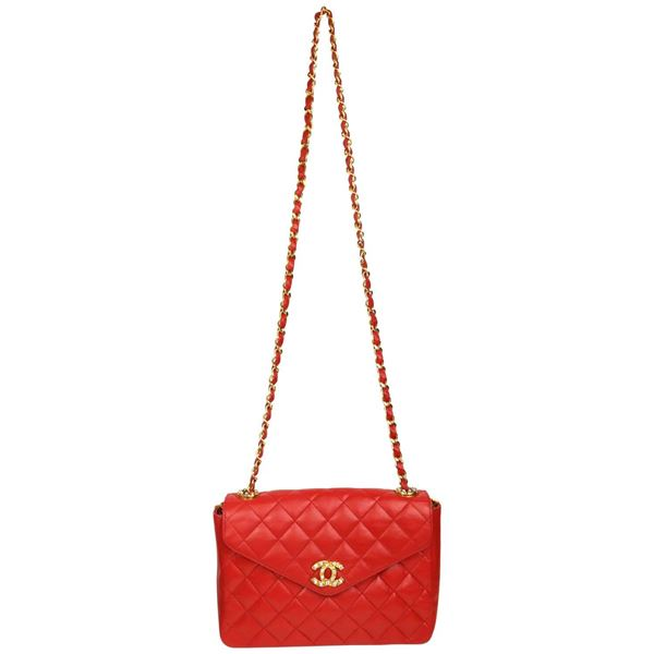 b5b9858c9e88 Chanel Classic Red Quilted Lambskin Leather
