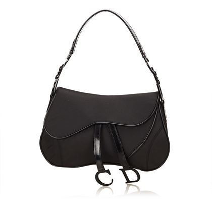 black-christian-dior-nylon-double-saddle-bag-black