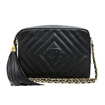 chanel-caviar-skin-tassel-chain-shoulder-bag