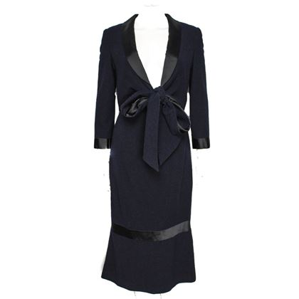Chanel Long Tie-Front Dress 4 36 Navy Black  New