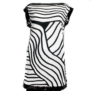 Chanel Tunic Dress Black White Zebra Pattern Sequin Trim