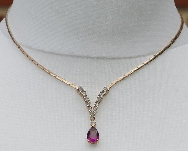 Panetta Faux Amethyst and Faux Diamond Vintage Necklace