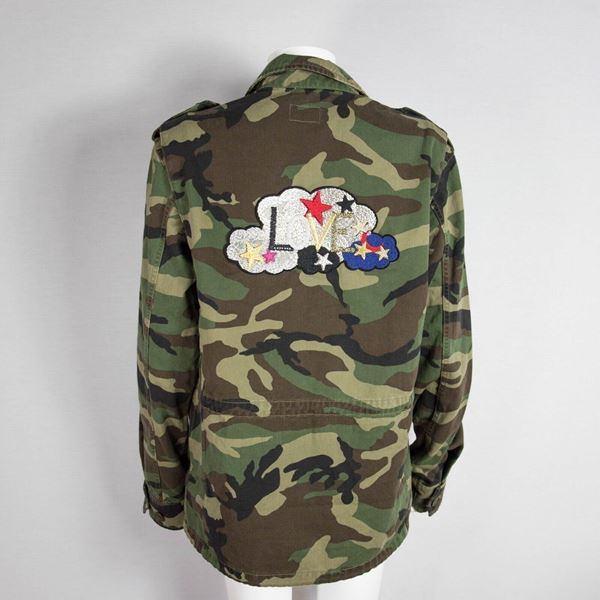 Saint Laurent Medium Green Cotton 2017 Men'S Camouflage Military Jacket With Love Patch  New