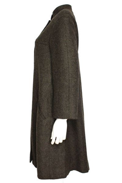 Chanel New Cashmere Mohair Gray Green Long Collar Jacket