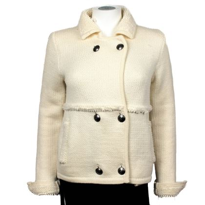 Chanel White Wool CC Logo Button Coat - 2008
