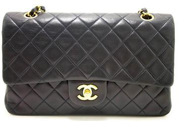 "Chanel Navy 2.55 Double Flap 10"" Shoulder Bag"