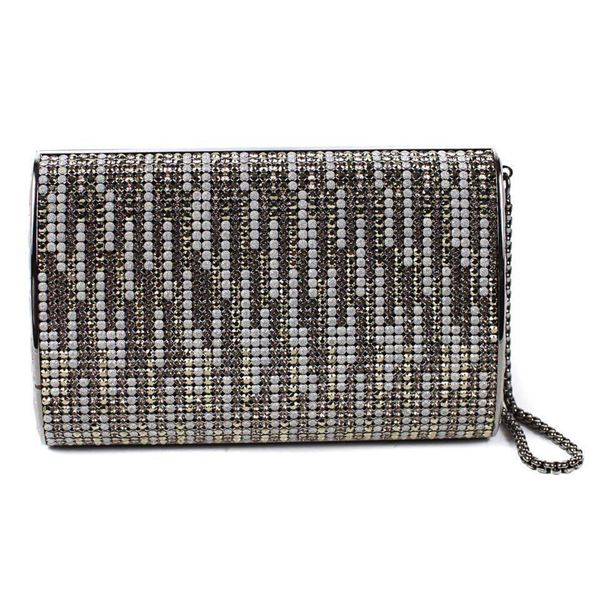 Grey Chanel Crystal Clutch Rhinestone Handbag