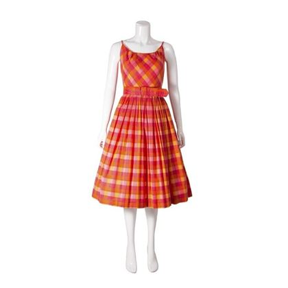 1950s-pink-orange-checked-vintage-dress