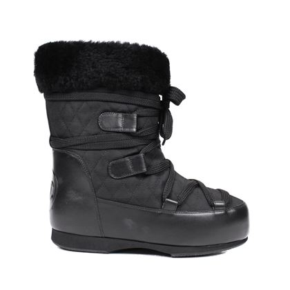 Chanel New Black Leather Shearling Boots