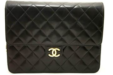 Chanel Black Quilted Flap Lambskin Purse Shoulder Bag