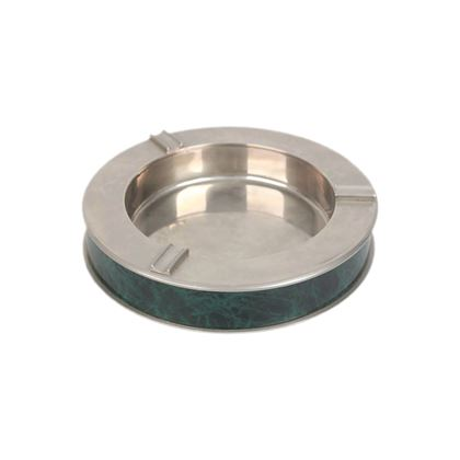 gucci-vintage-silver-metal-green-marbled-round-ashtray