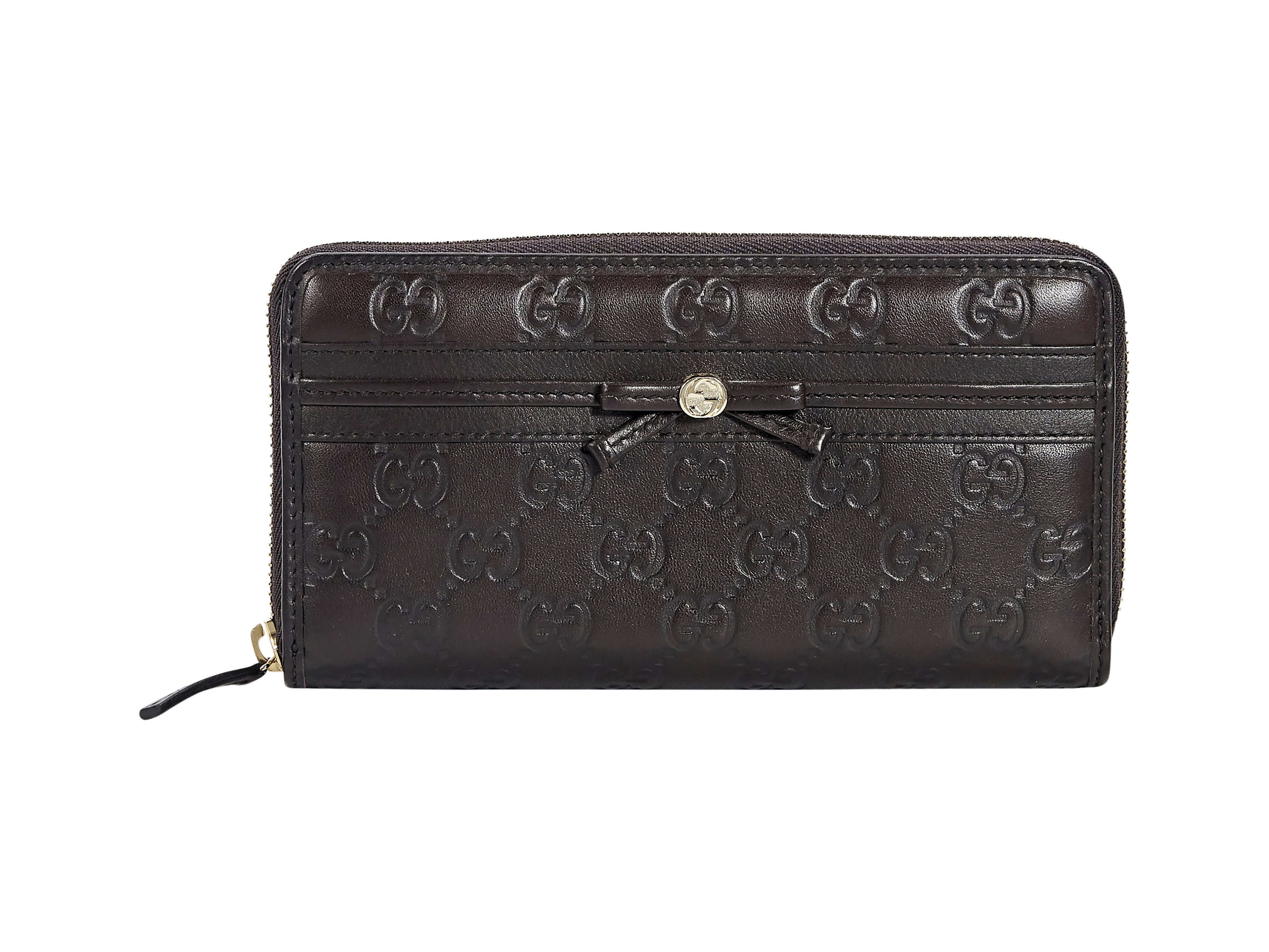 803d0f2bd2e Brown Gucci Embossed Leather Wallet - Brown
