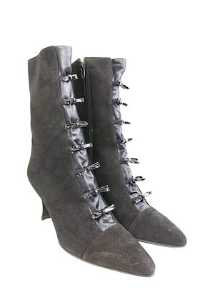 charles-jourdan-black-suede-with-patent-leather-bow-pointy-boots