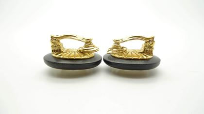 Picture of YSL Vintage 1980s Wood Crystal Brooch and Earrings