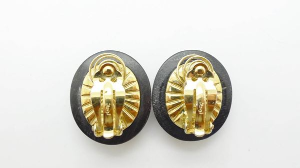 YSL Vintage 1980s Wood Crystal Brooch and Earrings