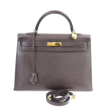 Picture of 2008 Hermes Dark Brown Epson Leather Kelly 36 Bag With Shoulder Strap