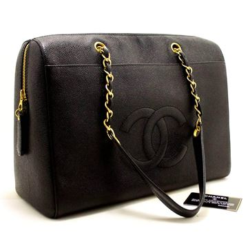 Chanel Black Caviar Jumbo Chain Shoulder Bag