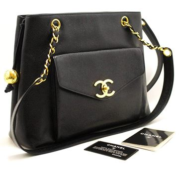 Chanel Black Caviar Large Chain Shoulder Bag
