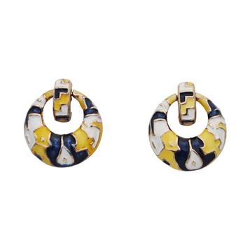 Boucher 1960's Round Dangling Multi-colour Enamel Clip On Vintage Earrings