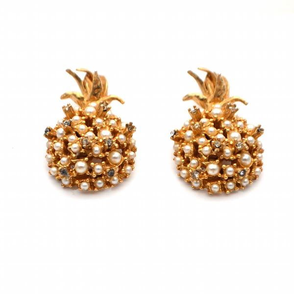 1960's Delicate Pineapple Gold Tone with Rhinestones and Mini Pearls Clip On Vintage Earrings